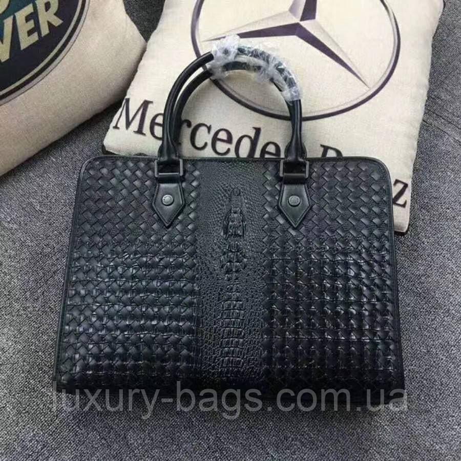 Мужской портфель Bottega Veneta с тиснением под кожу рептилии