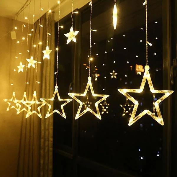 Гірлянда штора зірка з пультом різні режими красива біла гірлянда з зірками