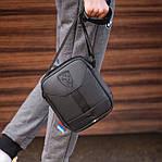 Мужская стильная сумка барсетка через плечо черная эко-кожа Ferrari Puma черный., фото 9