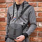 Мужская стильная сумка барсетка через плечо черная эко-кожа Ferrari Puma черный., фото 10