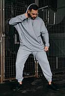 """Костюм мужской спортивный весенний   осенний Oversize """"Stroper Intruder серый Худи толстовка + штаны серые"""