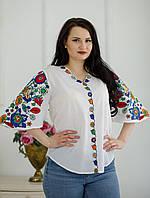 Стильна жіноча етнічна біла батистова вишита блуза №854