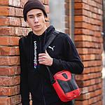 Чоловіча стильна сумка барсетка через плече еко-шкіра Puma Ferrari червоний з чорним., фото 4