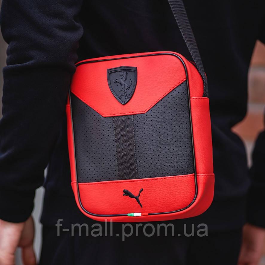 Чоловіча стильна сумка барсетка через плече еко-шкіра Puma Ferrari червоний з чорним.