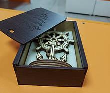 Набор Штурвал+крафтовая  коробочка подарочная. Сувениры морской тематики