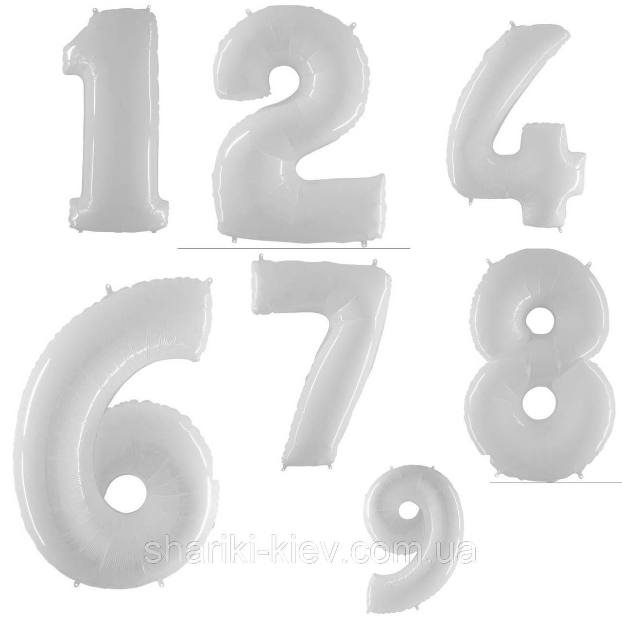 Цифра Белая с Гелием Фольгированная 102 см