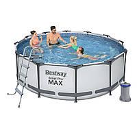 Каркасный бассейн Bestway 56420, 366 х 122 см (фильтр насос 2 006 л/ч, лестница, тент)