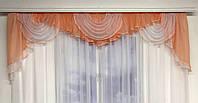 Шифон ламбрекен для спальни зала кухни, шторы ламбрекен на тесьме в спальню, ламбрекен из шифона для детской,, фото 7