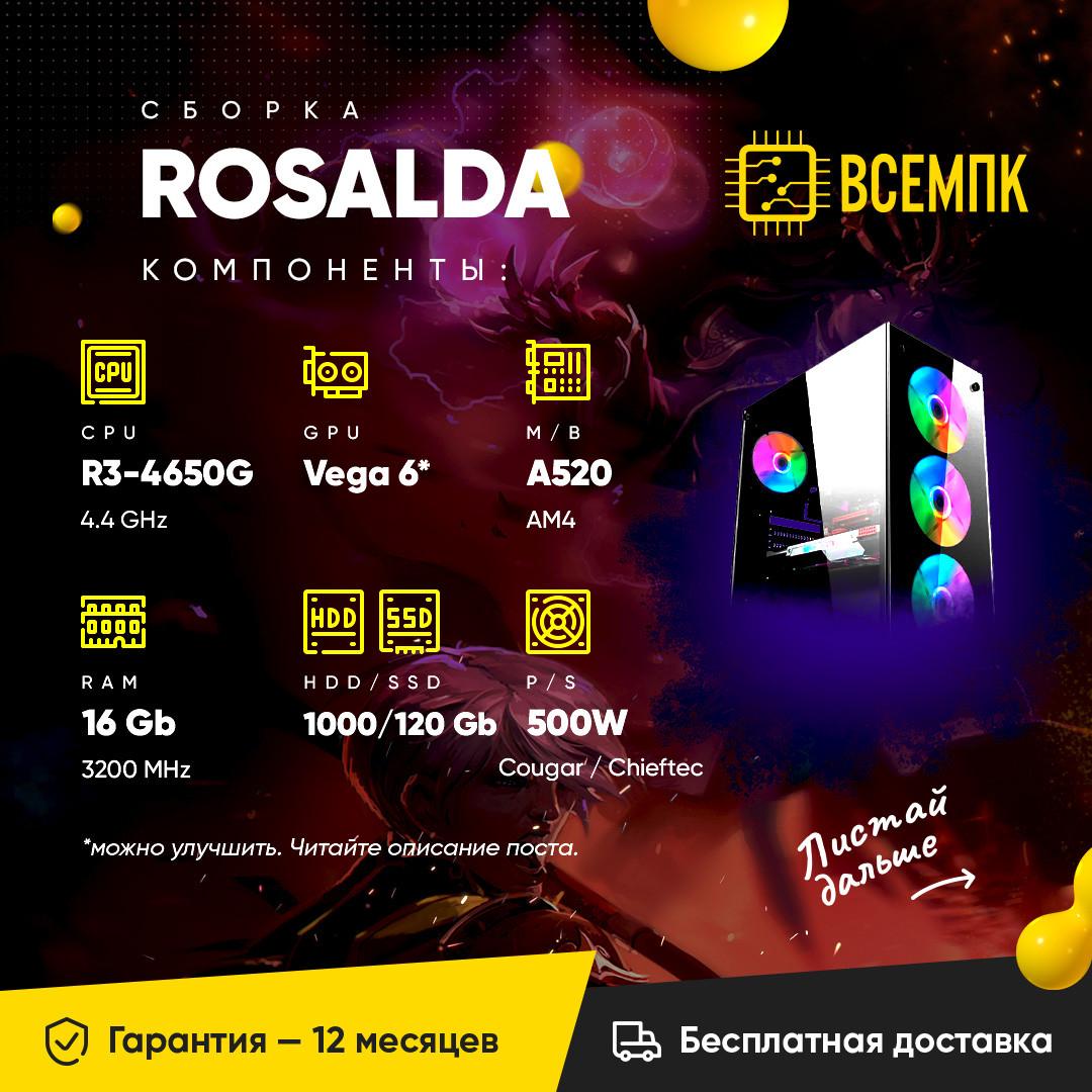 ROSALDA (AMD Ryzen 3 4650G / Radeon Vega 6 / 16GB DDR4 / HDD 1000GB / SSD 120GB)