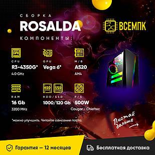 ROSALDA (AMD Ryzen 3 4350G / Radeon Vega 6 / 16GB DDR4 / HDD 1000GB / SSD 120GB)
