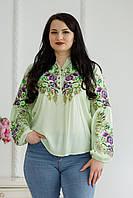 Стильна жіноча ніжно-салатова блуза з яскравою етнічною вишивкою №856