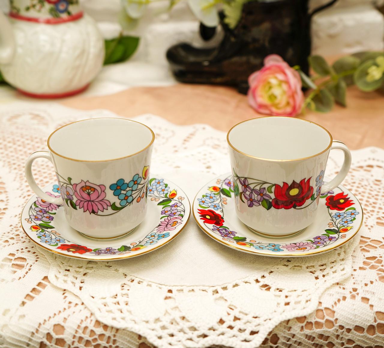 Винтажная фарфоровая кофейная чашка и блюдце, ручная роспись, Венгрия, KALOCSA Porcelain
