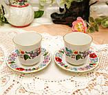 Винтажная фарфоровая кофейная чашка и блюдце, ручная роспись, Венгрия, KALOCSA Porcelain, фото 2