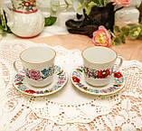 Винтажная фарфоровая кофейная чашка и блюдце, ручная роспись, Венгрия, KALOCSA Porcelain, фото 3