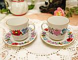 Винтажная фарфоровая кофейная чашка и блюдце, ручная роспись, Венгрия, KALOCSA Porcelain, фото 6