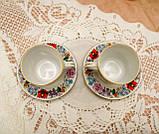 Винтажная фарфоровая кофейная чашка и блюдце, ручная роспись, Венгрия, KALOCSA Porcelain, фото 5