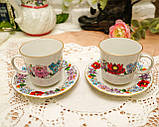 Винтажная фарфоровая кофейная чашка и блюдце, ручная роспись, Венгрия, KALOCSA Porcelain, фото 4