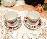 Винтажная фарфоровая кофейная чашка и блюдце, ручная роспись, Венгрия, KALOCSA Porcelain, фото 7