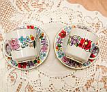 Винтажная фарфоровая кофейная чашка и блюдце, ручная роспись, Венгрия, KALOCSA Porcelain, фото 8