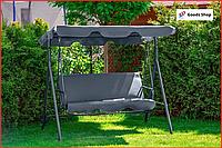 Садовая качеля трехместная с навесом Серая садовая качель подвесная для отдыха дома большая FunFit Relax