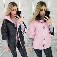 Жіноча демісезонна двостороння куртка (рукав 3/4) 42-48 р 8 кольорів