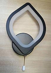 Бра светодиодное настенный LED светильник 9W 8073/1 BK Листик черный
