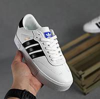 Кроссовки женские Adidas Samba весна-осень демисезонные кожаные белые. Живое фото. Реплика