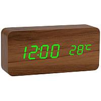 Часы настольные 862 S 6770 с зеленой подсветкой, светлое дерево