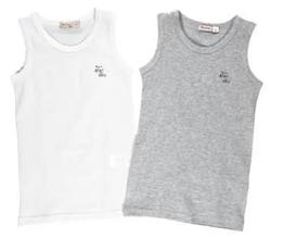 Детский комплект нижнего белья для мальчика BRUMS Италия 110 размер (5 лет) 2 майки Белый Серый