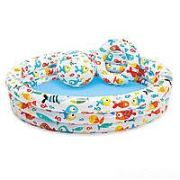 Детский надувной бассейн Intex 59469 «Аквариум», 132 х 28 см, с мячом и кругом