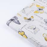 """Поплін шириною 240 см """"Жовто-сірі метелики і написи"""" (№3344), фото 3"""