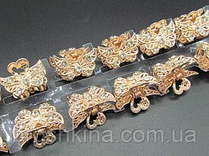 Крабики для волосся 2.5 см метал/стрази 12 шт/уп.