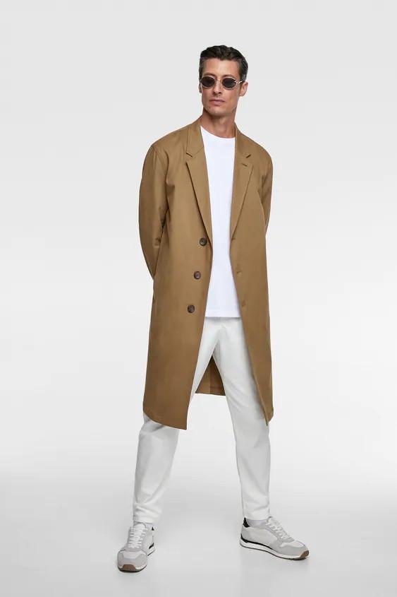 Пальто мужское Zara коричневое (0706 369 707)