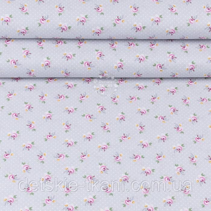 """Поплін шириною 240 см """"Дрібні рожеві трояндочки і білі точки на сірому"""" (№3345)"""