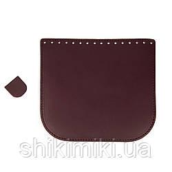 Клапан для сумки из натуральной кожи (20*18), цвет марсала