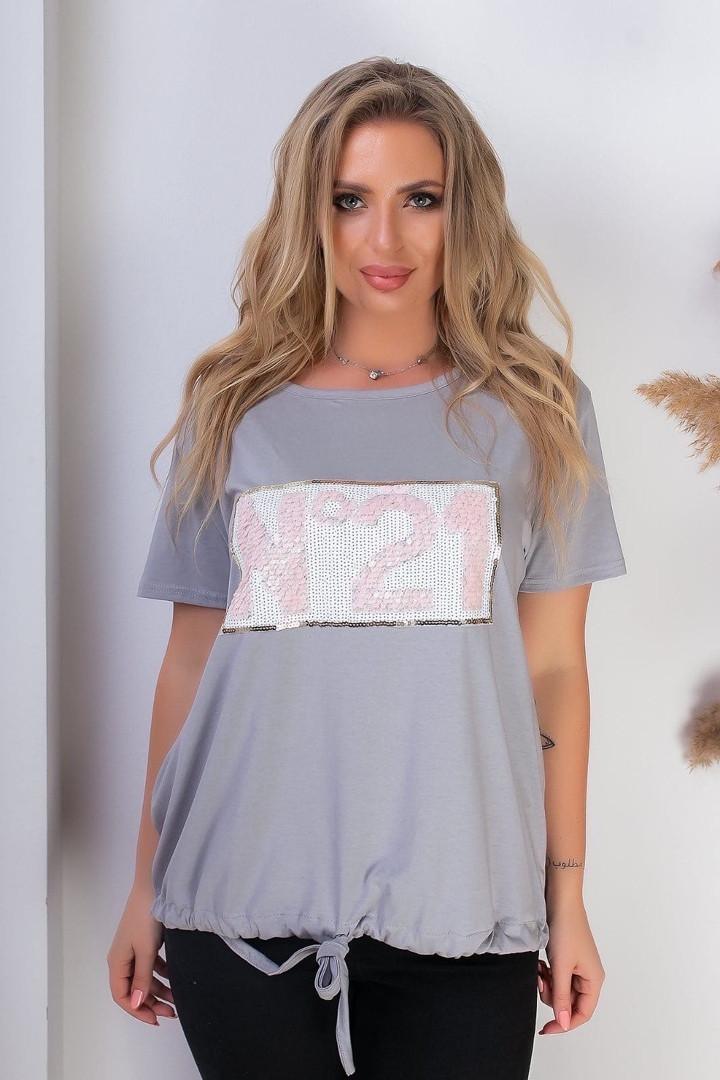 Женская футболка, хлопок, р-р универсальный 48-54 (серый)