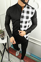 Мужская рубашка асимметрия черная с белым в клетку