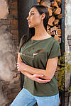 Женская футболка, хлопок, р-р универсальный 48-54 (хаки), фото 4