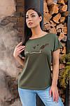 Женская футболка, хлопок, р-р универсальный 48-54 (хаки), фото 3