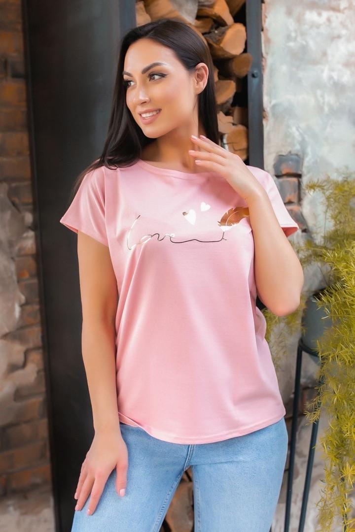 Жіноча футболка, бавовна, р-р універсальний 48-54 (пудровий)