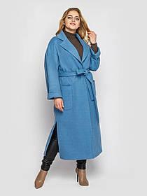 Шикарное кашемировое женское пальто длинное голубого цвета, большие размеры от 48 до 58