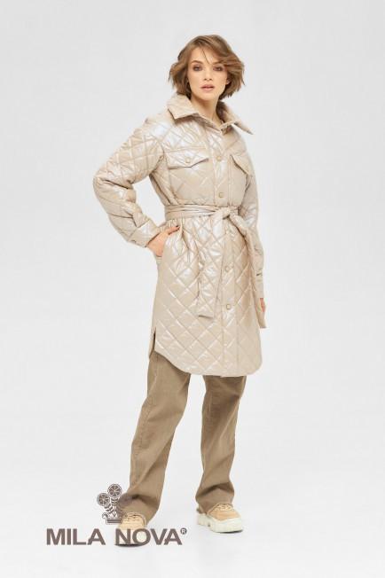 Плащ- рубашка женская стеганая с поясом демисезонное размеры 42-50