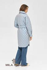 Плащ- рубашка женская стеганая с поясом демисезонное размеры 42-50, фото 3