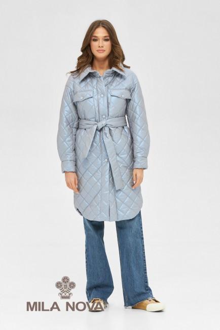 Плащ - сорочка жіноча стьобана з поясом демісезонне розміри 42-50