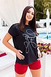 Жіноча футболка, бавовна, р-р універсальний 48-54 (чорний), фото 3