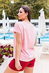 Женская футболка, хлопок, р-р универсальный 48-54 (пудровый), фото 3