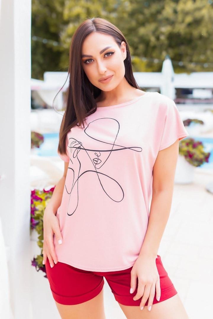 Женская футболка, хлопок, р-р универсальный 48-54 (пудровый)