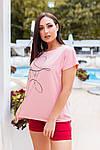 Женская футболка, хлопок, р-р универсальный 48-54 (пудровый), фото 2
