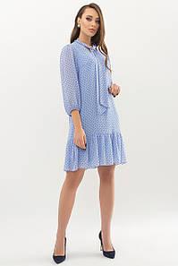 Женское платье голубое-черный мелкий горох Малика д/р
