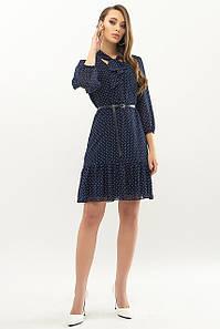 Женское платье синие-белый мелкий горох Малика д/р